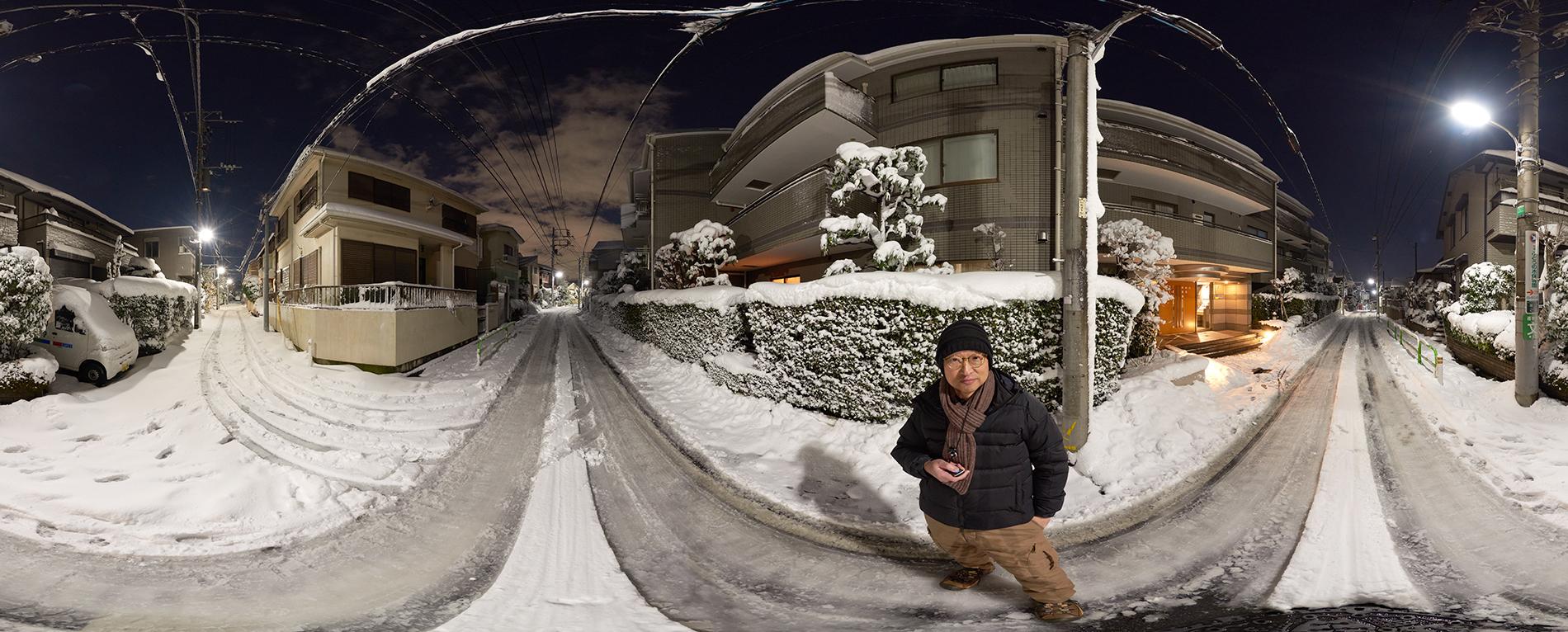 Selfie in heavy snowing